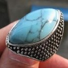 Fashion silver ring set natural Turquoise gemstone size 8 ! Gift Jewelry & Love