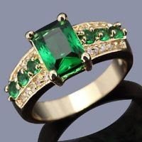 Fashion design real 10k gold filled Emerald zircon ring size 10 ! Gift & Jewelry