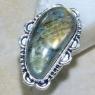 Fashion natural stone Labradorite silver ring size 8 1/2 ! Gift Jewelry & Love