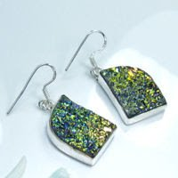 Special unique silver 925 natural titanium earrings ! Gift Jewelry & Love