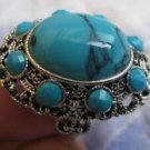 Fashion silver ring , natural Turquoise gemstone size 8.5 ! Gift Jewelry & Love