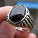 Thailand silver retro ring natural black onyx gemstone size 11 ! Gift & Jewelry