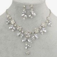 Silver necklace pendant & earrings flowers & crystal gemstone ! Gift & Jewelry
