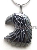 Fashion black egale head natural hematite pendant necklace ! Gift Jewelry & Love