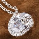 18K gold plated white Swarovski Crystal pendant & necklace ! Gift Jewelry & Love