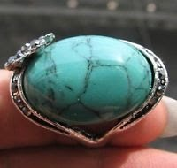 Fashion silver ring , natural Turquoise gemstone size 9 ! Gift Jewelry & Love