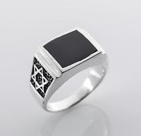 Solid sterling silver 925 David star men's ring & Onyx size 9 ! Gift & Jewelry