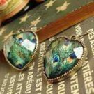 Fashion retro peacock feather heart earrings free shipping ! Gift Jewelry & Love