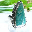 Fine amazonite gemstone silver 925 ring size 6 1/4 ! Gift Jewelry and Love