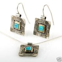 Pendant + chain & earrings , Opal silver 925 & gold set ! Gift Jewelry & Love