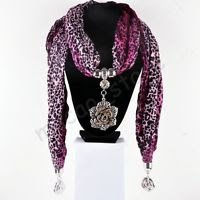 Fashion Jewelry Accessory Mottled Scarf Flower Pendant Necklace ! Gift & Love