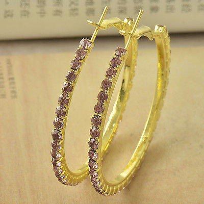 Lovely 9K Yellow Gold Filled Pink CZ Ladies Hoop Earrings,Z4626