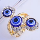 """Unique Yellow Gold Filled Clear CZ """"Evil Eye"""""""