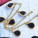 Amazing Yellow Gold Filled Black CZ Drop Womens Bracelet,230*3 mm,B1377