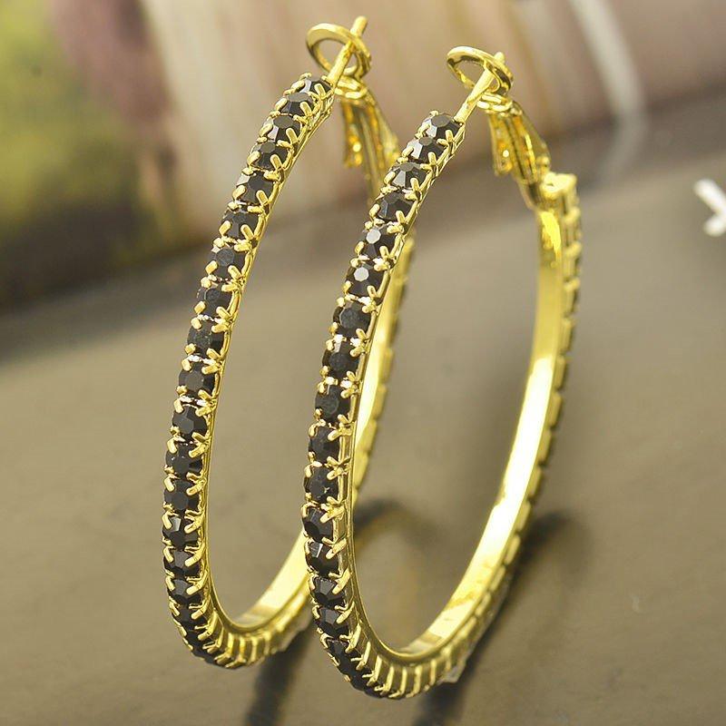 Gorgeous 9K Yellow Gold Filled Black Onyx Womens Hoop Earrings,48mm,Z4101
