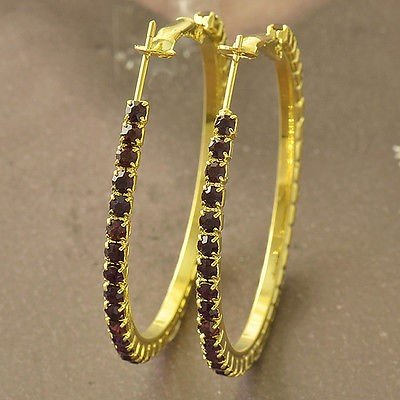 Details about  Around Pink CZ 9K Solid Gold Filled Womens HOOP EARRINGS F5150
