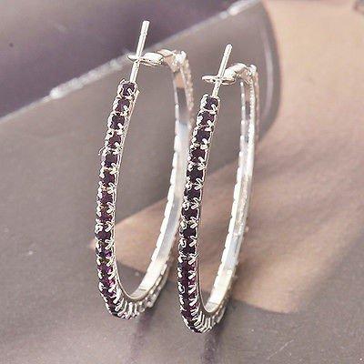 Details about  Around Purple Swarovski 9k white gold filled Ladies Hoop Earrings F4534