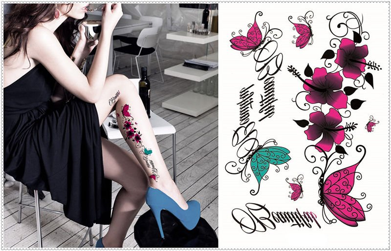 Sexy Waterproof Temporary Fake Tattoos Butterflies Flowers Girls Skin Sticker S3