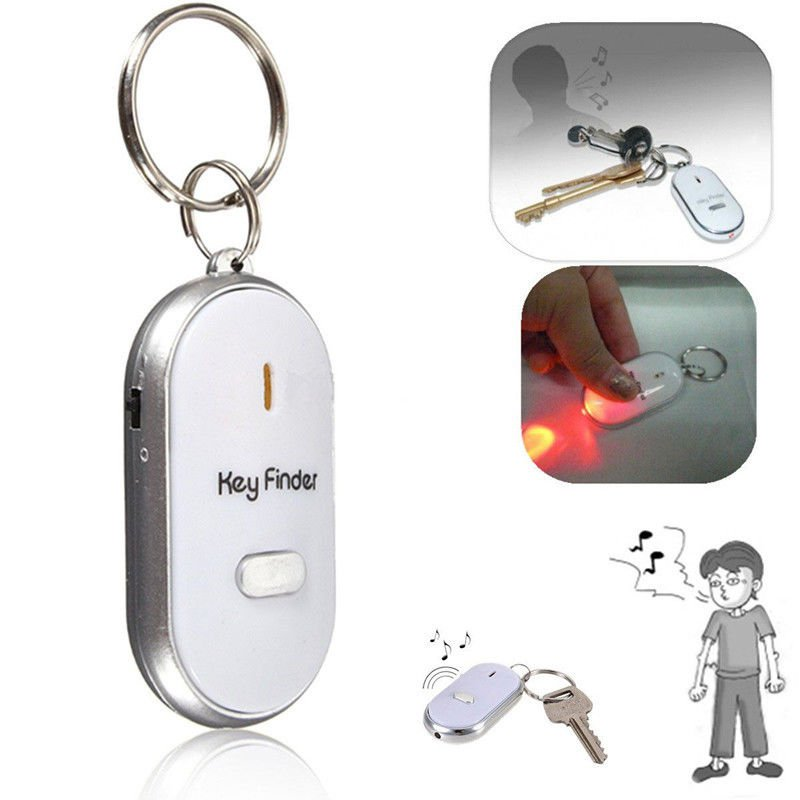 Whistle Sound Control Locator Find Lost Keychain With LED Torch Key Ring New W87