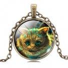 Vintage cat Cabochon Tibetan Bronze Glass Chain Pendant Necklace NEW