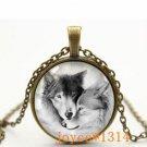 Vintage wolf Cabochon Bronze Glass Chain Pendant Necklace &XP-506