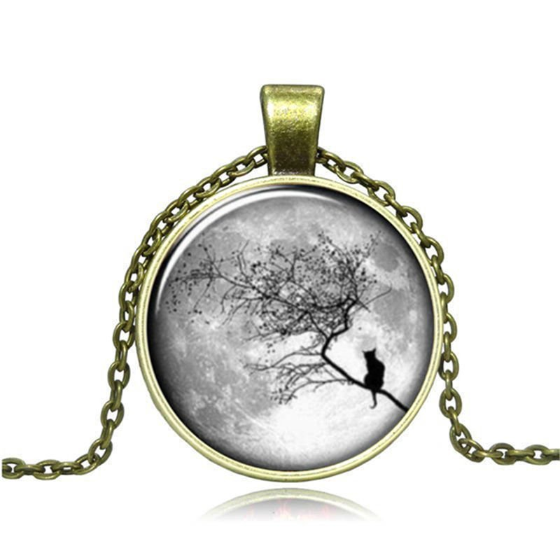 New Vintage Cabochon Bronze Glass Bird Charm Pendant Necklace #95