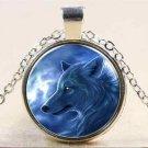 Vintage Wolf Cabochon Tibetan silver Glass Chain Pendant Necklace NEW