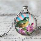Vintage Birds Cabochon Tibetan silver Glass Chain Pendant Necklace &
