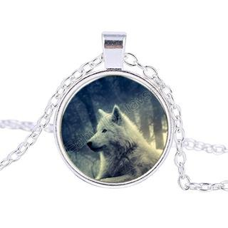 Vintage Grey wolf Cabochon Tibetan Silver Glass Chain Pendant Necklace BX076