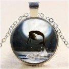 Vintage Moon Mermaid Cabochon Tibetan Silver Glass Chain Pendant Necklace NEW