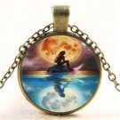 Vintage Mermaid And Moon Photo Cabochon Glass Bronze Chain Pendant Necklace