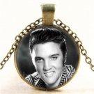 Vintage Elvis Presley Photo Cabochon Glass Bronze Chain Pendant Necklace#2465