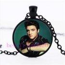 Necklace  Elvis-Presley-Photo-Cabochon-Glass-Black-Chain
