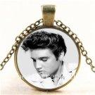Vintage Elvis Presley Cabochon Glass Bronze Chain Pendant Necklace