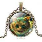Vintage Cute Cat Cabochon Tibetan Bronze Glass Chain Pendant Necklace NEW