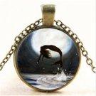 1pcs Mermaid Vintage Cabochon Tibetan Bronze Glass Chain Pendant Necklace NEW