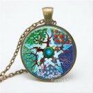 Vintage Tree Cabochon Tibetan Bronze Glass Chain Pendant Necklace NEW
