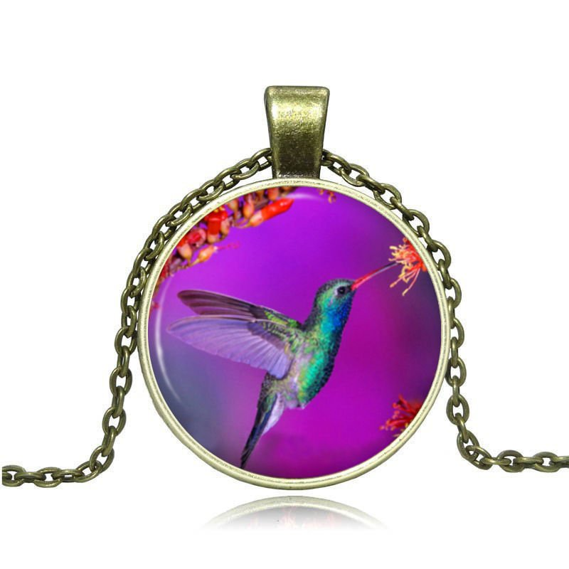 New Vintage Cabochon Bronze Glass Bird Charm Pendant Necklace