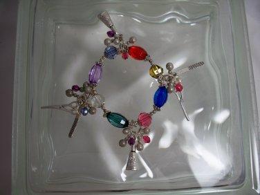 Hairdresser Stylist Vintage charm bracelet with faux stones