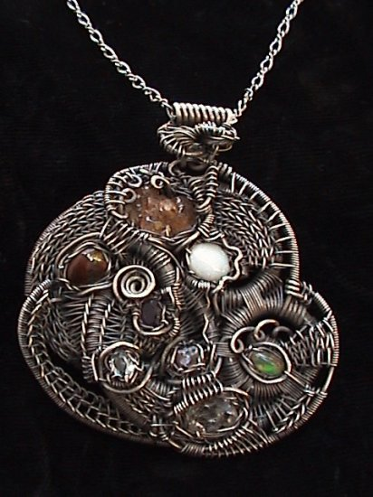 8 Stone Sterling Pendant and Chain