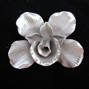 Fashion Womens Solid Silver Pendants Hill tribe Tribal Karen Orchidea Flower P09