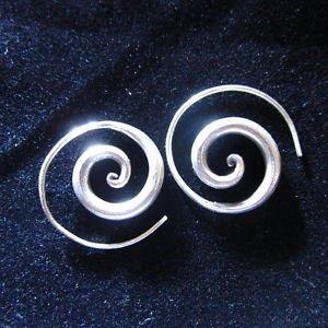 Fashion earrings Hill tribe Genuine silver thai karen tribal Cool Spiral ER92