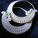 Fashion earrings Hill tribe Genuine silver thai karen tribal Big O engrave ER185