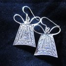 Fashion earrings Hill tribe Genuine silver thai karen tribal Ribbon key er178