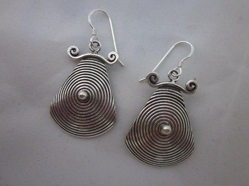 Fine Fashion Silver Earrings Hill Tribe Gypsy BOHO Tribal Hipster Spirale ER114