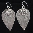 Fine silver earrings vintage hill tribe handmade thai karen spiral leaf solid