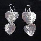 Hill tribe silver earrings thai karen Fine solid handmade lovely leaf E44