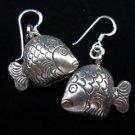Fashion earrings Hill tribe Genuine silver thai karen tribal Fish bell ER182