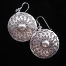 Fashion Earrings Hill tribe Genuine silver thai karen tribal Sun Disc Round ER85