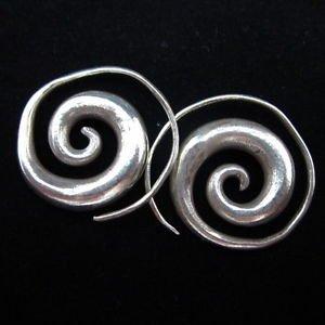 Fashion earrings Hill tribe Genuine silver thai karen tribal Big spiral ER92B